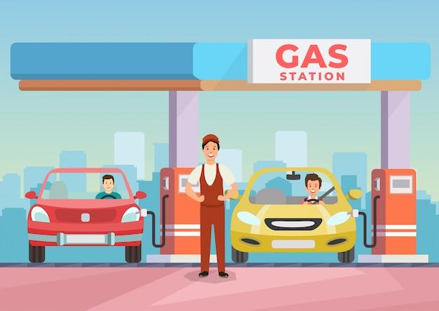 Karikaturbild-tankstellearbeitskraft, die autos wieder füllt