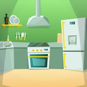 Karikaturbilder des kücheninnenraums mit verschiedenen möbelstücken