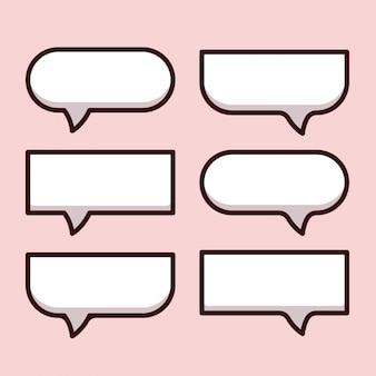 Karikaturblasenrede und denkikonsammlung. dachte leere blasen mit schatten. satz von kommunikationsaufklebern, wie chat, feedback, emotion, überprüfung