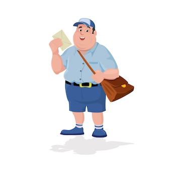 Karikaturbriefträger, der post und tasche hält