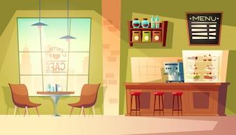 Karikaturcafé mit Fenster - gemütliches Interieur mit Kaffeemaschine, Tisch.