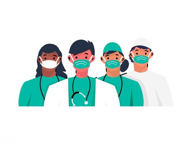 Karikaturcharakter des medizinischen personalteams, das schutzmaske auf weißem hintergrund trägt.