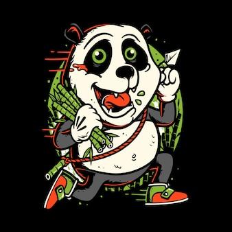 Karikaturcharakter-pandas, die bambus tragen