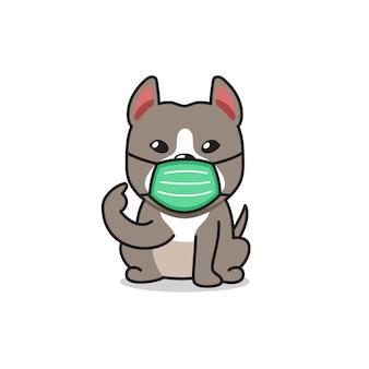 Karikaturcharakter pitbull terrier hund, der schützende gesichtsmaske trägt