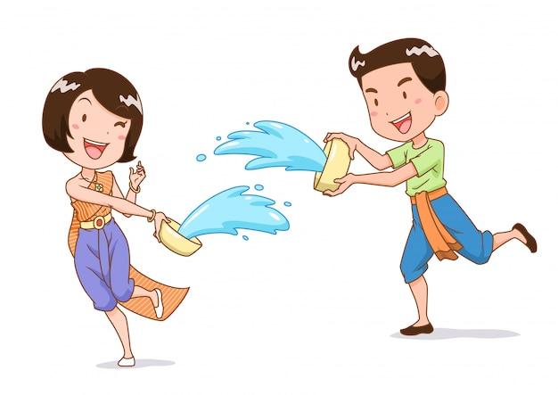 Karikaturcharakter von jungen und mädchen, die wasser mit wasserschale im songkran-festival, thailand spritzen.