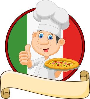 Karikaturchef, der eine pizza und das geben daumen hochhält
