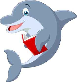 Karikaturdelphin, der buch hält