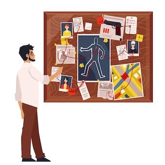 Karikaturdetektivmann, der verbrechensbrett mit mordermittlungselementen, beweisen und verdächtigen fotografien betrachtet, die durch roten faden verbunden sind. illustration