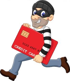 Karikaturdieb in einer maske, die eine bankkreditkarte stiehlt und läuft