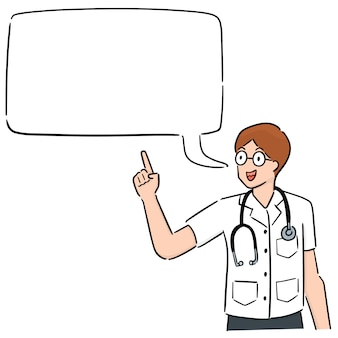 Karikaturdoktor mit dialog buble