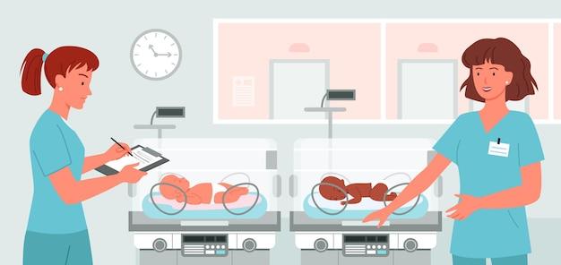 Karikaturdoktor neonatologe am neugeborenen babyhintergrund. krankenstation mit frühgeborenen-inkubatoren, frühgeborenenkonzept, nette krankenschwestern kümmern sich um süße babys.