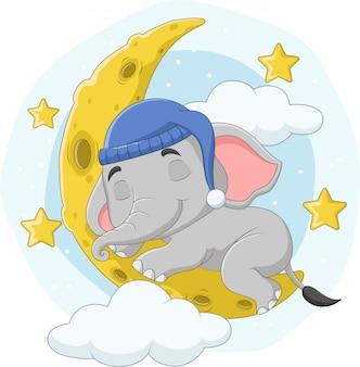 Karikaturelefant, der auf dem mond schläft