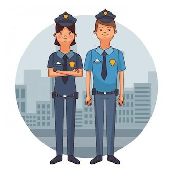 Karikaturen der polizeibeamten