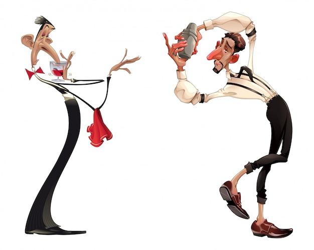 Karikaturen des barmixers und des kellners mit rotwein