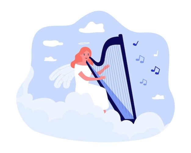 Karikaturengel, der flache vektorillustration der harfe spielt. mädchen mit flügeln und halo über ihrem kopf beschäftigt sich mit musik, die auf wolke im himmel sitzt. religion, musik, himmel, hobby, inspirationskonzept für design