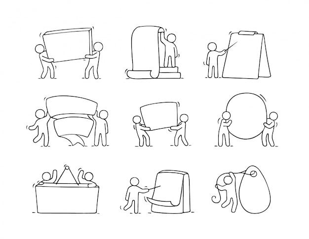 Karikaturensatz der kleinen leute der skizze mit leerzeichen.