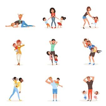 Karikaturensatz der müden jungen eltern in verschiedenen posen. väter, mütter, kleine jungen und mädchen. kinder wollen spielen. realität der elternschaft. familienaktion.