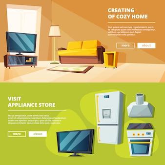 Karikaturfahnen mit illustrationen von verschiedenen möbeln für küche und wohnzimmer