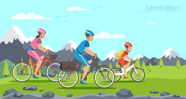 Karikaturfamilie, die auf fahrräder fährt