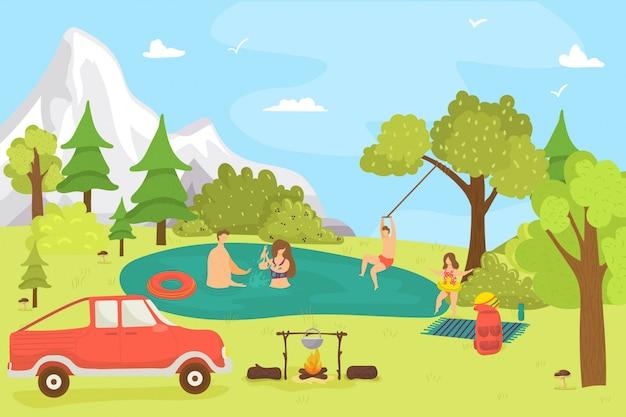 Karikaturfamilie in wald, natursommerlandschaft und menschen, illustration. mann frau charakter am see, im freien mit kind entspannen. natürlicher hintergrund, glückliches picknick im urlaub.
