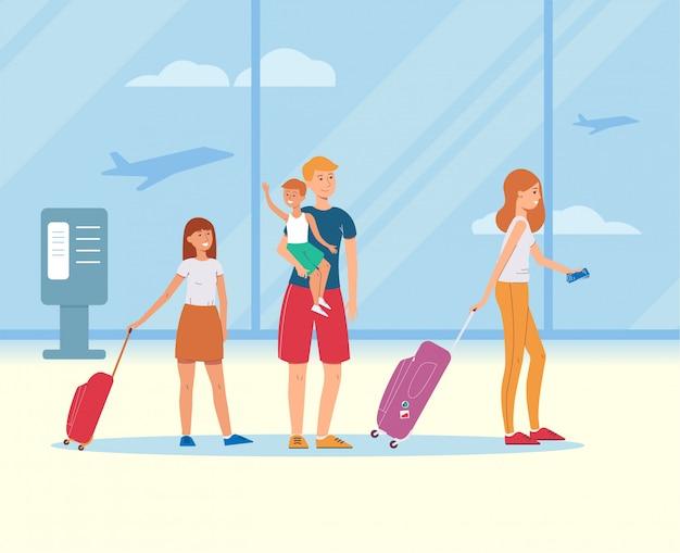 Karikaturfamilie mit reisetaschen im flughafenterminal - glückliche eltern und kinder auf sommerferienreise mit gepäckkoffern und -karten, flache vektorillustration