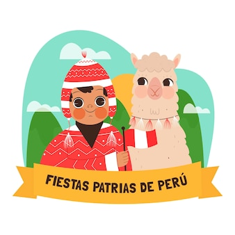 Karikaturfiestas patrias de peru illustration