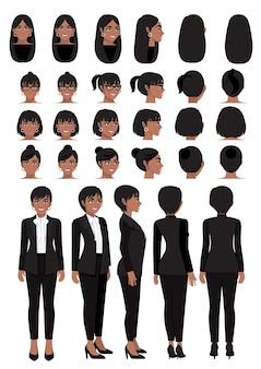 Karikaturfigur der afroamerikanischen geschäftsfrau im schwarzen intelligenten anzug