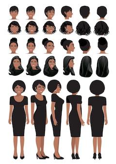 Karikaturfigur der afroamerikanischen geschäftsfrau im schwarzen kleid