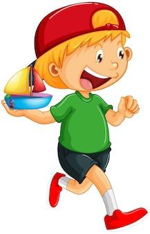 Karikaturfigur des glücklichen jungen, die ein spielzeugschiff hält