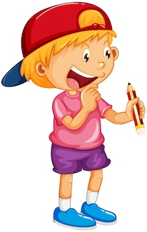 Karikaturfigur des glücklichen jungen, die einen bleistift hält