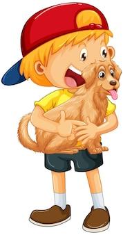 Karikaturfigur des glücklichen jungen, die einen niedlichen hund umarmt