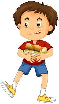 Karikaturfigur des glücklichen jungen, die nahrungsmittelsandwich umarmt