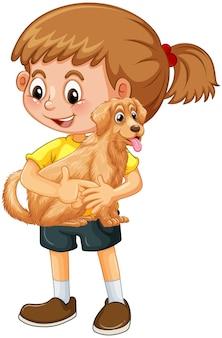 Karikaturfigur des glücklichen mädchens, die einen niedlichen hund umarmt