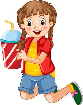 Karikaturfigur des glücklichen mädchens, die einen plastikbecher des getränks hält