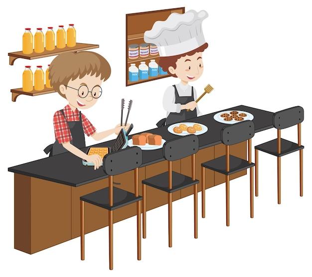 Karikaturfigur des jungen mannes, der küchenelemente auf weißem hintergrund kocht