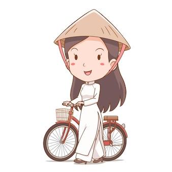 Karikaturfigur des vietnamesischen mädchens in der tracht, die mit fahrrad geht.