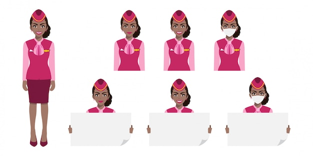 Karikaturfigur mit der amerikanischen afrikanischen stewardess in der rosa uniform mit lächeln, medizinischer maske und händchenplakatschablone. satz von isolierten abbildungen