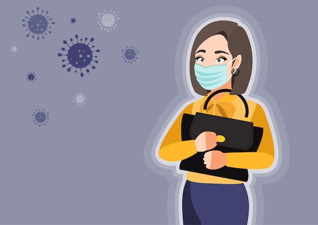 Karikaturfigur mit der jungen frau, die medizinische maske auf gesicht trägt, um krankheit zu verhindern. coronavirus. illustration in einem flachen stil