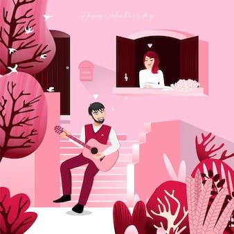 Karikaturfigur mit einem mann, der auf vorderstufen rosa farbe nach hause und einer dame sitzt, die im weinlesefenster hört.