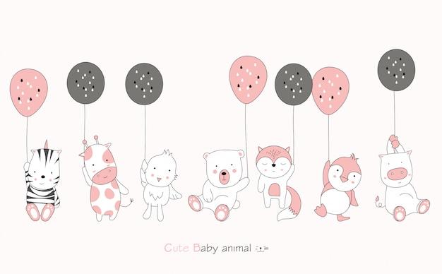 Karikaturfigur über niedliches tierbaby und ballon auf rosa hintergrund. hand gezeichnete karikaturart.