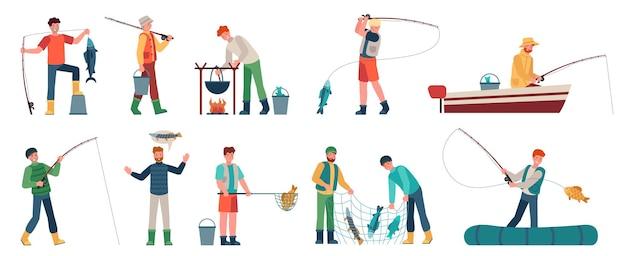 Karikaturfischer. fischer in booten mit netz oder spinnerei. fischer mit fisch, angelzubehör, hobby-angelurlaubsvektorzeichen. fischfang, illustration für hobby-freizeitaktivitäten