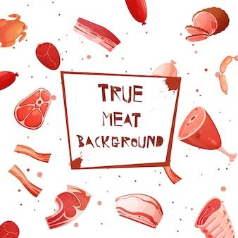 Karikaturfleisch mit wahrem fleischhintergrund der aufschrift auf plakette in der mittelvektorillustration