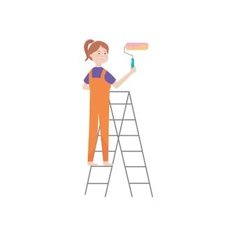 Karikaturfrau auf einer trittleiter, die einen farbroller über weißem hintergrund hält