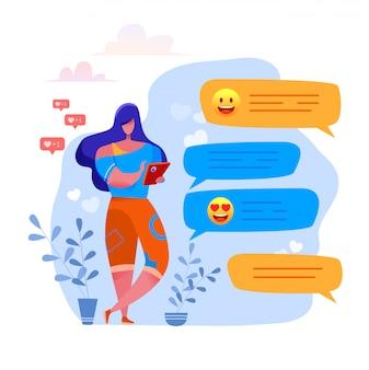Karikaturfrau, die am smartphone tippt, das nachrichten-mögende beiträge in sozialen netzwerken sendet, die mit freunden mit emoji-herzsymbolen chatten. charakter.