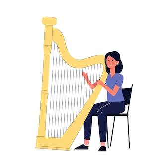 Karikaturfrau, die die harfe spielt - junges harfenistenmädchen, das auf stuhl mit riesigem musikinstrument sitzt, das die saiten mit den fingern zupft.