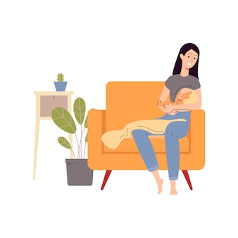 Karikaturfrau, die ihr baby stillt, das im großen stuhl im gemütlichen raum sitzt - glückliche junge mutter, die ein kind hält und von der brust füttert. illustration