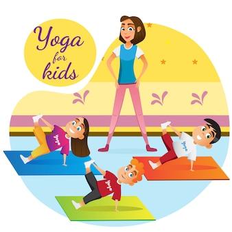 Karikaturfrau, die kinder yoga-unterrichtsraum unterrichtet