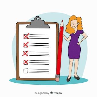 Karikaturfrau, die riesigen checklistenhintergrund überprüft