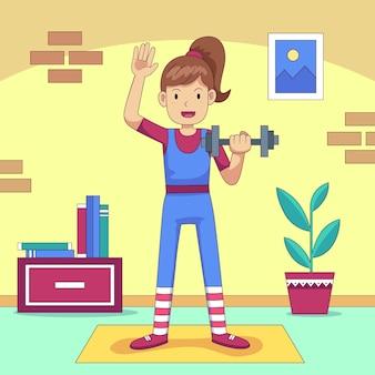 Karikaturfrau, die übungen zu hause macht