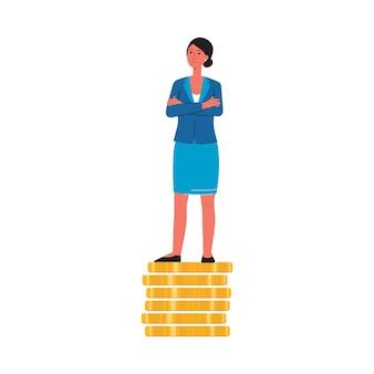 Karikaturfrau in geschäftskleidung, die auf stapel von goldmünzen mit traurigem wütendem gesicht steht - geschlechtsdiskriminierung und konzept des gleichen entgelts - illustration